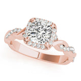 Halo Cushion Braided 14K Rose Gold Engagement Ring