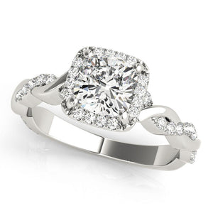 Halo Cushion Braided 14K White Gold Engagement Ring