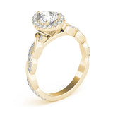 Braided Halo Pear 14K Yellow Gold Engagement Ring