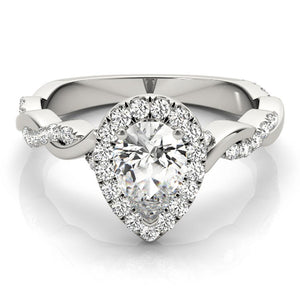 Braided Halo Pear Platinum Engagement Ring