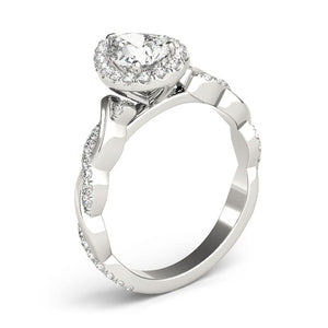 Braided Halo Pear 14K White Gold Engagement Ring