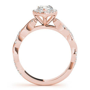 Braided Halo Pear 14K Rose Gold Engagement Ring
