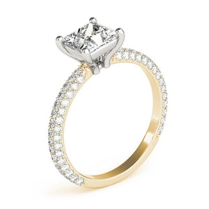 Accented Solitaire Princess 14K Yellow Gold Engagement Ring