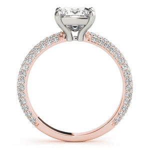 Accented Solitaire Princess 14K Rose Gold Engagement Ring