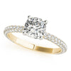 Accented Solitaire Cushion 14K Yellow Gold Engagement Ring