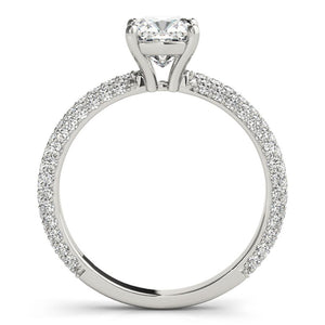 Accented Solitaire Cushion 14K White Gold Engagement Ring