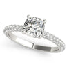 Accented Solitaire Cushion Platinum Engagement Ring