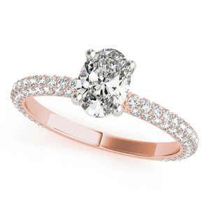 Accented Solitaire Oval 14K Rose Gold Engagement Ring