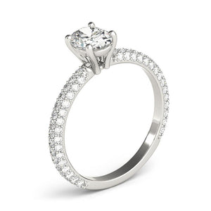 Accented Solitaire Oval Platinum Engagement Ring