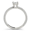 Accented Solitaire Oval 14K White Gold Engagement Ring