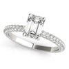 Accented Solitaire Emerald 14K White Gold Engagement Ring