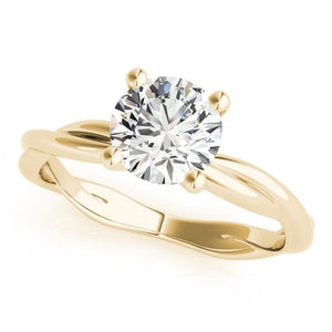 Four-Prong Twisted Shank Round 14K Yellow Gold Engagement Ring