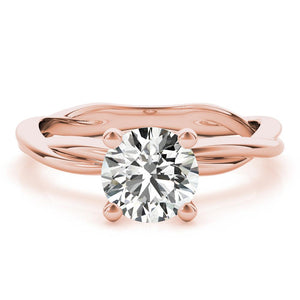 Four-Prong Twisted Shank Round 14K Rose Gold Engagement Ring