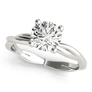 Four-Prong Twisted Shank Round 14K White Gold Engagement Ring