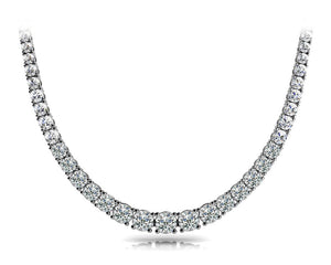 Graduated Round 14K White Gold Necklace