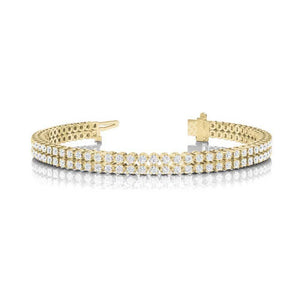 Round Double Row Tennis Bracelet In 14K Yellow Gold