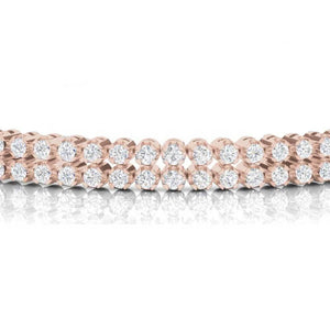 Round Double Row Tennis Bracelet In 14K Rose Gold