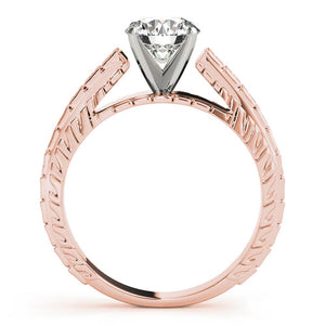 Vintage Solitaire Round 14K Rose Gold Engagement Ring