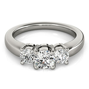 Three-Stone Round 14K White Gold Engagement Ring
