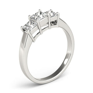 Three-Stone Princess 14K White Gold Engagement Ring