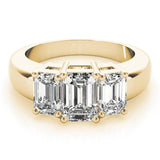 Three-Stone Emerald 14K Yellow Gold Engagement Ring