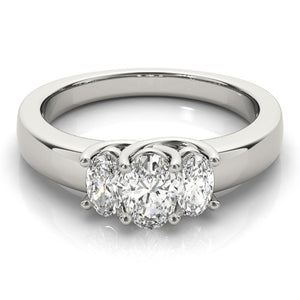 Three-Stone Oval 14K White Gold Engagement Ring