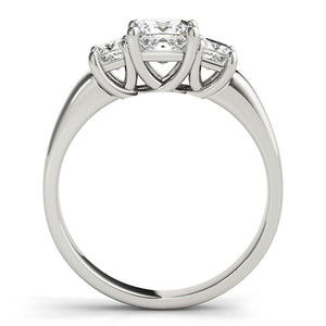 Three Stone Princess 14K White Gold Engagement Ring