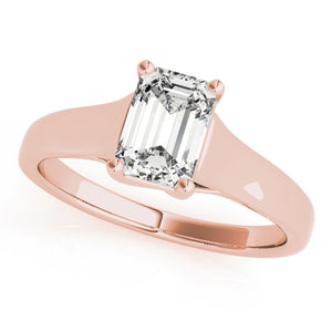Solitaire Emerald 14K Rose Gold Engagement Ring