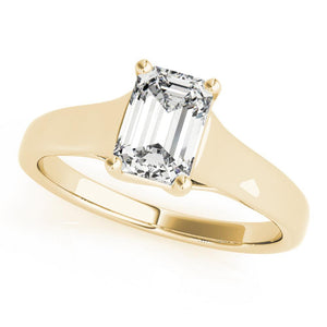 Solitaire Emerald 14K Yellow Gold Engagement Ring