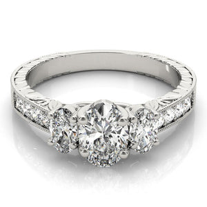 Vintage Three-Stone Oval Platinum Engagement Ring