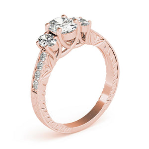 Vintage Three-Stone Oval 14K Rose Gold Engagement Ring