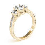 Vintage Three-Stone Oval 14K Yellow Gold Engagement Ring