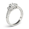 Vintage Three-Stone Oval 14K White Gold Engagement Ring
