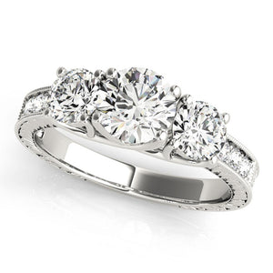 Vintage Three-Stone Round 14K White Gold Engagement Ring