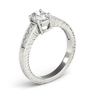 Four-Prong Vintage Oval 14K White Gold Engagement Ring