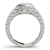 Vintage Round 14K White Gold Engagement Ring