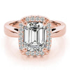 Four-Prong Halo Emerald 14K Rose Gold Engagement Ring