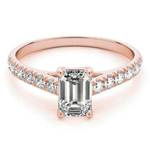 Accented Solitaire Emerald 14K Rose Gold Engagement Ring