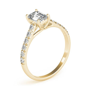 Accented Solitaire Emerald 14K Yellow Gold Engagement Ring