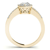 Three-Prong Halo Pear 14K Yellow Gold Engagement Ring