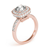 Channel Set Halo Cushion 14K Rose Gold Engagement Ring