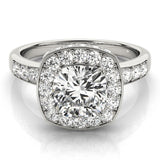 Channel Set Halo Cushion Platinum Engagement Ring