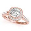 Halo Cushion 14K Rose Gold Engagement Ring