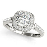 Halo Cushion 14K White Gold Engagement Ring