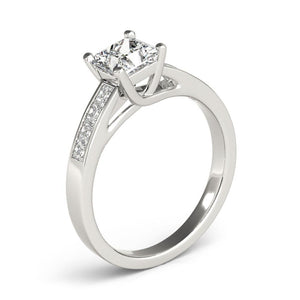 Accented Solitaire Princess 14K White Gold Engagement Ring