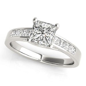Accented Solitaire Princess Platinum Engagement Ring