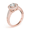 Channel Set Halo Round 14K Rose Gold Engagement Ring