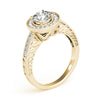 Channel Set Halo Round 14K Yellow Gold Engagement Ring