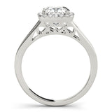 Halo Cushion Split Shank 14K White Gold Engagement Ring