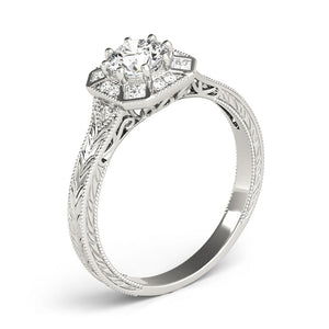 Vintage Eight-Prong 14K White Gold Engagement Ring